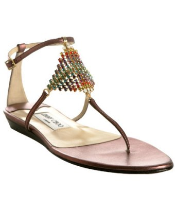 jimmy choo purple metallic nappa plush rhinestone sandals bluefly - Sandles